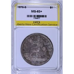 1876-S TRADE DOLLAR, LVCS CHOICE BU+