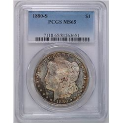 1880-S MORGAN SILVER DOLLAR, PCGS MS-65  COLOR ON OBVERSE