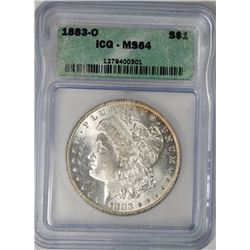 1883-O MORGAN SILVER DOLLAR, ICG MS-64