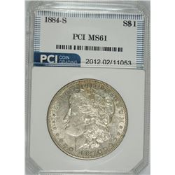 1884-S MORGAN SILVER DOLLAR, PCI CHOICE BU