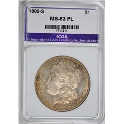 1889-S MORGAN SILVER DOLLAR, ICGA CHOICE BU PL