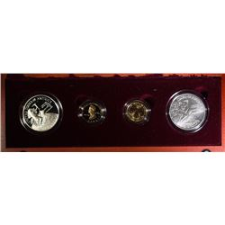 1996 SMITHSONIAN SET 4PCS: 2-$5.00 GOLDS & 2 SILVER DOLLARS