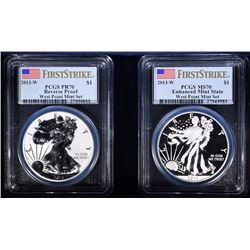 2013 AMERICAN SILVER EAGLE 2PC SET WEST POINT PCGS PROOF 70/ MS 70! WITH BOX/COA