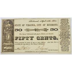 1862 50-CENT CH UNC STATE OF VIRGINIA, CITY OF RICHMOND OBSOLETE CURRENCY
