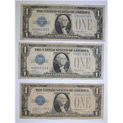 "( 3 ) 1928 $1.00 ""FUNNY BACK"" SILVER CERTIFICATES"