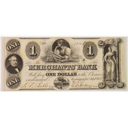 1852 MERCHANTS BANK WASHINGTON D.C. CHOICE CU $1.00 NOTE
