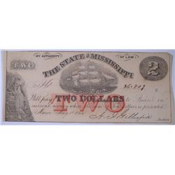 1864 $2.00 STATE OF MISSISSIPPI NOTE, CU  SCARCE NOTE