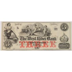 1850'S $3.00 VERMONT JAMAICA WEST RIVER BANK NOTE CHOICE CU