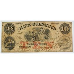1856 $10.00 BANK OF COLUMBUS GEORGIA NOTE, XF