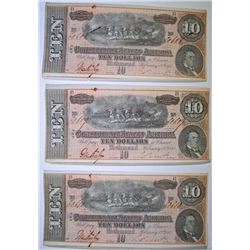( 3 ) 1864 $10.00 CS-68 CONFEDERATE NOTES IN SEQUENTIAL ORDER! CRISP UNC