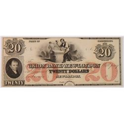 MID 1800'S $20.00 UNION BANK OF NEW LONDON CT NOTE.  CHOICE CU  NICE NOTE!