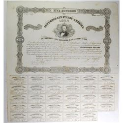 1861 $500 BOND CR-72/B-120 T.H. WATTS  ( GOV.OF ALABAMA ) VF WITH 29 COUPONS