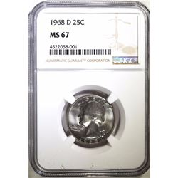1968-D WASHINGTON QUARTER, NGC MS-67