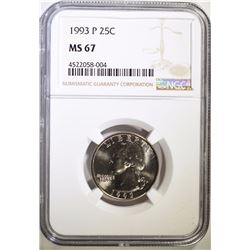1993-P WASHINGTON QUARTER, NGC MS-67