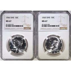 1965 & 1966 SMS KENNEDY HALF DOLLARS NGC MS67