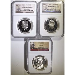 NGC GRADED SILVER HALF DOLLAR LOT: SEE DESCRIPTION