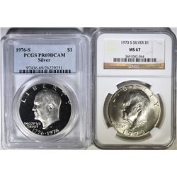 SILVER EISENHOWER DOLLAR LOT, 1973-S NGC MS-67 & 1976-S PCGS PR-69 DCAM