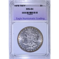 1878 7/8 TF MORGAN SILVER DOLLAR, ENG CH/GEM BU
