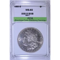 1885-S MORGAN SILVER DOLLAR, PCSS CHOICE BU