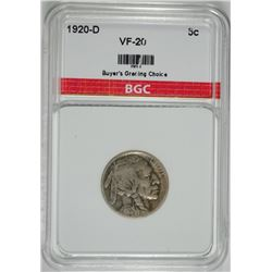 1920-D BUFFALO NICKEL BGC VF