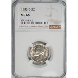 1983-D JEFFERSON NICKEL NGC MS-66 KEY DATE