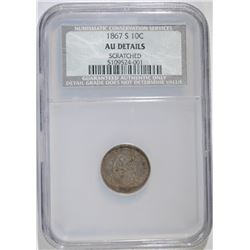 1867-S SEATED DIME, NCS AU  MINOR MARK, RARE!!