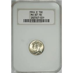 "1944-D MERCURY DIME, NGC MS-67 FULL BANDS  OLD ""FATTY"" HOLDER"