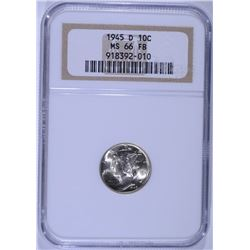 1945-D MERCURY DIME NGC MS-66 FB