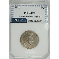 1821 CAPPED BUST QUARTER, PCI AU  NICE