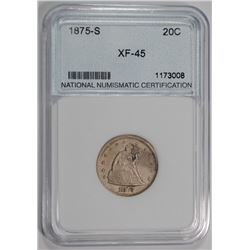 1875-S 20-CENT PIECE, NNC GRADED XF/AU