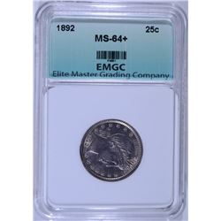 1892 BARBER QUARTER, EMGC CHOICE BU+