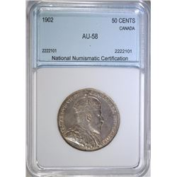 1902 CANADIAN HALF DOLLAR Graded by NNC AU/BU