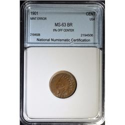 1901 INDIAN HEAD CENT - Graded by NNC CHOICE BU BROWN RED - ERROR 5%  OFF CENTER