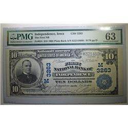 1902 $10 PLAIN BACK NATIONAL CURRENCY - FIRST NATL BANK of INDEPENDENCE IOWA