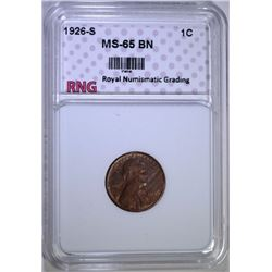 1926-S LINCOLN WHEAT CENT RNG GEM BU BROWN