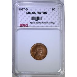 1927-D LINCOLN WHEAT CENT RNG GEM BU RED & BROWN