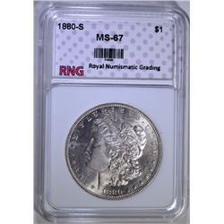 1880-S MORGAN SILVER DOLLAR RNG SUPERB GEM
