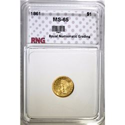 1861 GOLD INDIAN PRINCESS HEAD $1 COIN RNG GEM BU