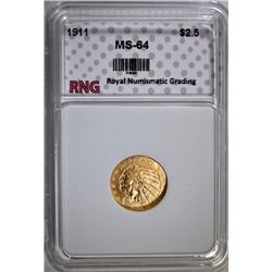 1911 $2.50 INDIAN HEAD GOLD RNG CH BU