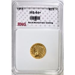 1915 $2.50 INDIAN HEAD GOLD RNG CH BU+