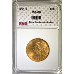 1901-S $10 GOLD LIBERTY HEAD RNG GEM BU