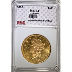 1895 $20 GOLD LIBERTY HEAD RNG CH BU  PROOF LIKE OBVERSE