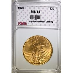 1928 $20 ST GAUDENS GOLD RNG SUPERB GEM