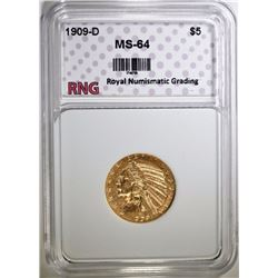 1909-D $5 GOLD INDIAN HEAD RNG CH BU