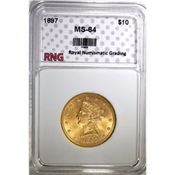 1897 $10 GOLD LIBERTY HEAD RNG CH BU