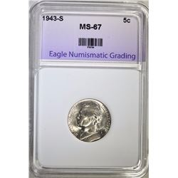 1943-S JEFFERSON NICKEL ENG SUPERB GEM