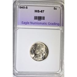 1945-S JEFFERSON NICKEL ENG SUPERB GEM