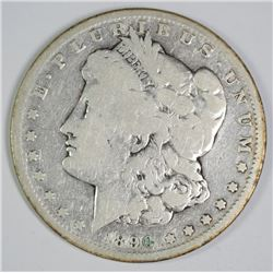 1890-CC MORGAN SILVER DOLLAR, VG  KEY DATE