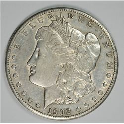 1902-S MORGAN SILVER DOLLAR, AU  KEY DATE!