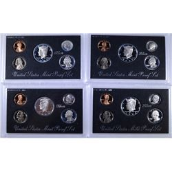 4 - U.S. MINT SILVER PROOF SETS;  2-1992 & 2-1995  - ORIGINAL BOX/COA